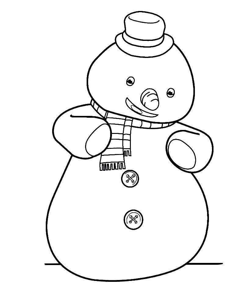 Раскраска плюшевый снеговик Чилли