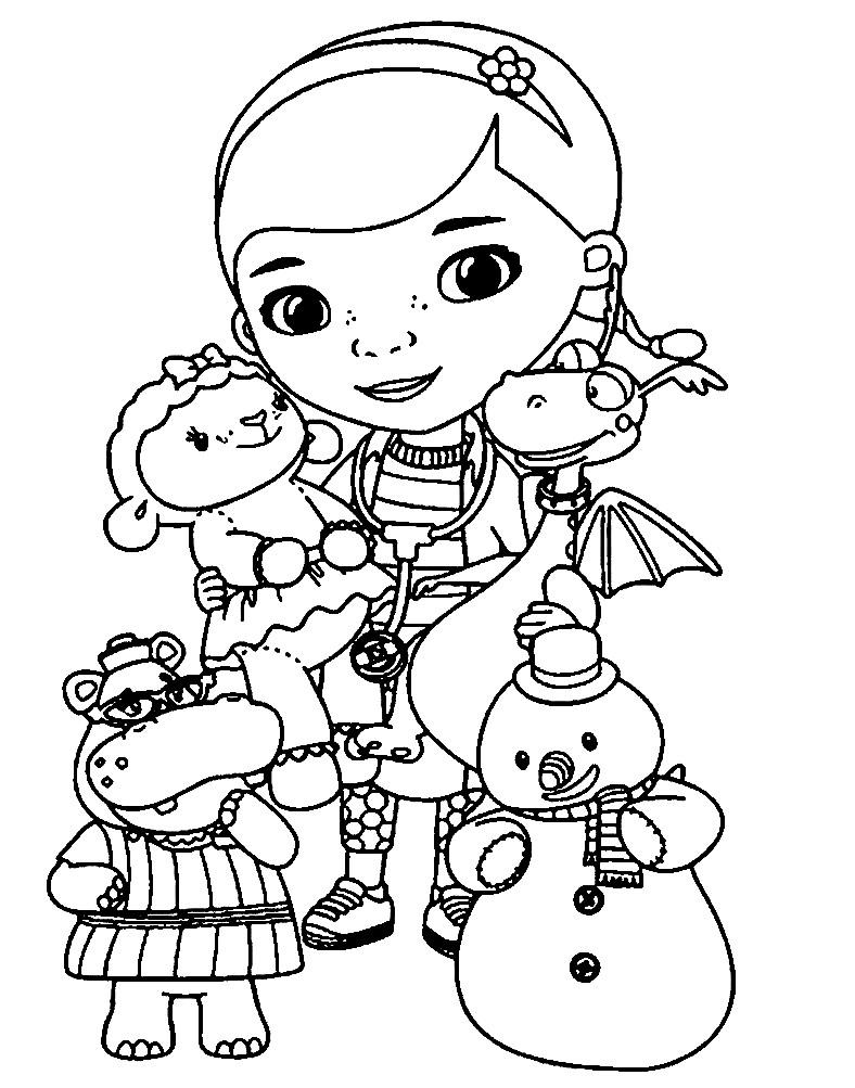 Раскраска доктор Плюшева и ее плюшевые друзья