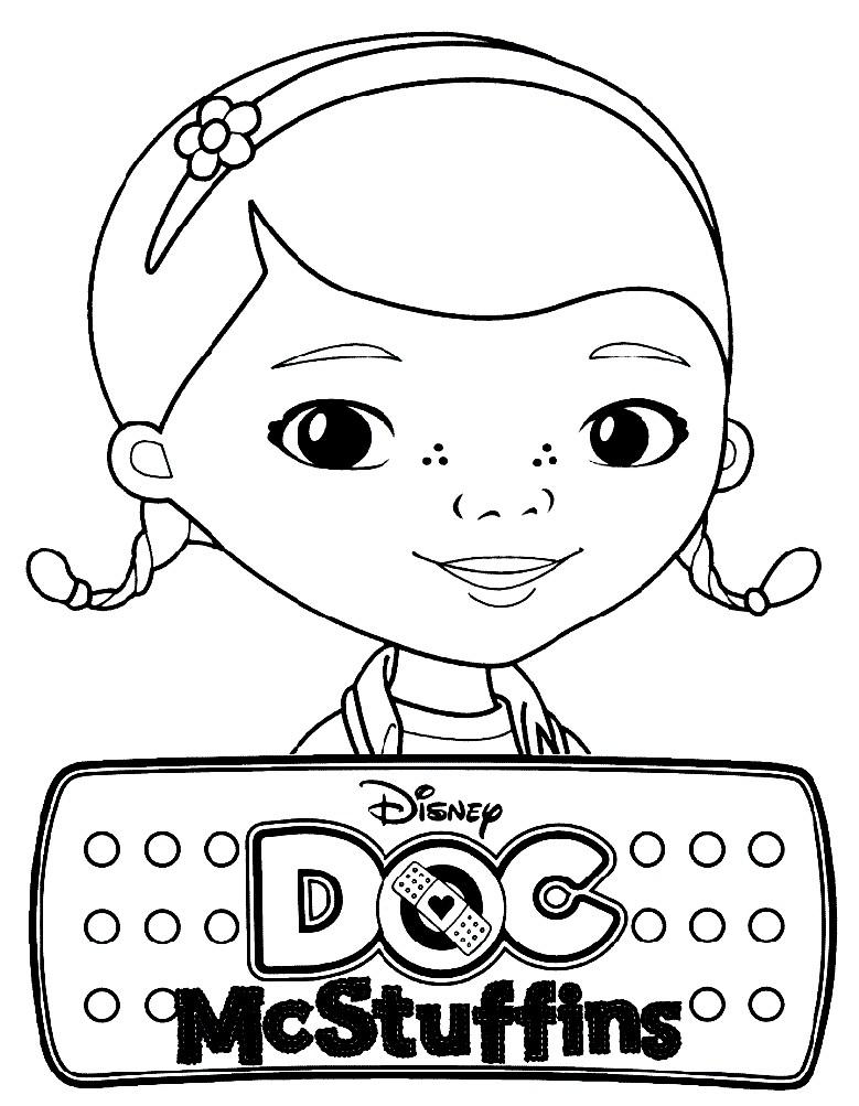 Раскраска девочка Дотти — доктор Плюшева