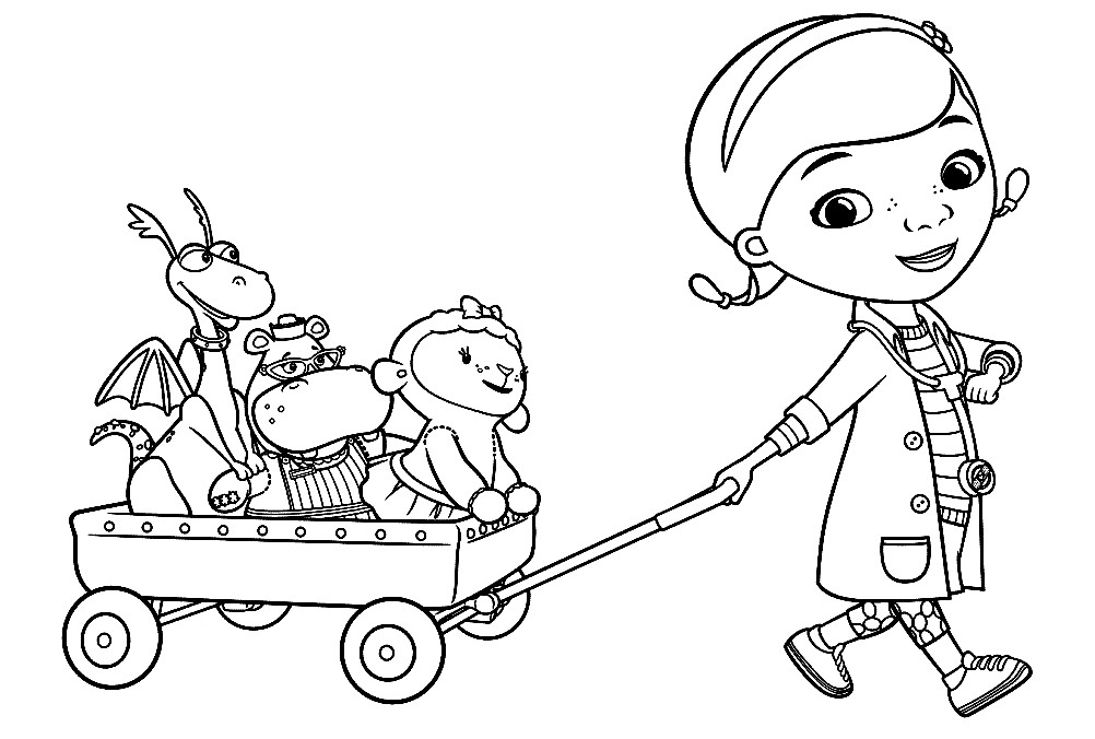 Раскраска доктор Плюшева с друзьями