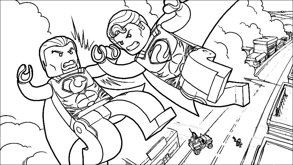 Раскраска Лего Супермен против генерала Зода