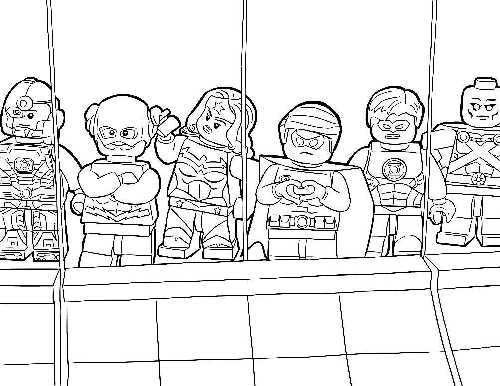 Раскраска фигурки Лего супергерои вселенной