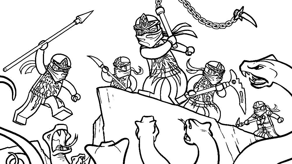 Раскраска ниндзя против змей