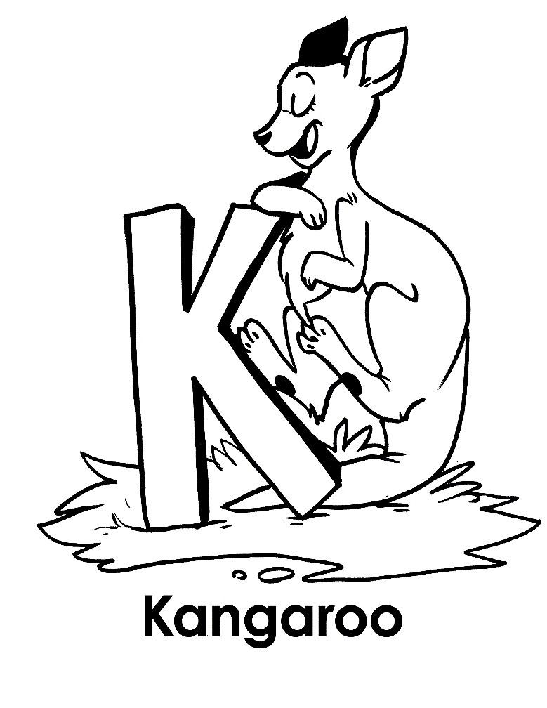 Раскраска кенгуру для самых маленьких