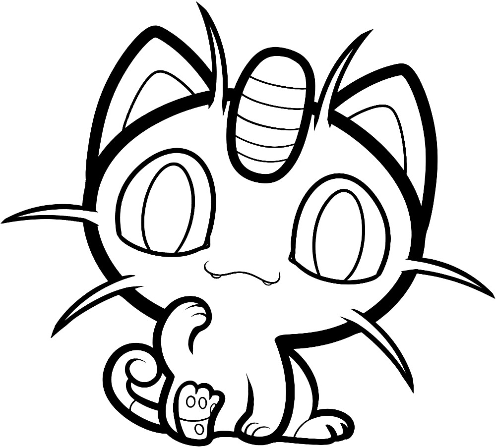 Раскраска Покемон Мяут (Meowth)