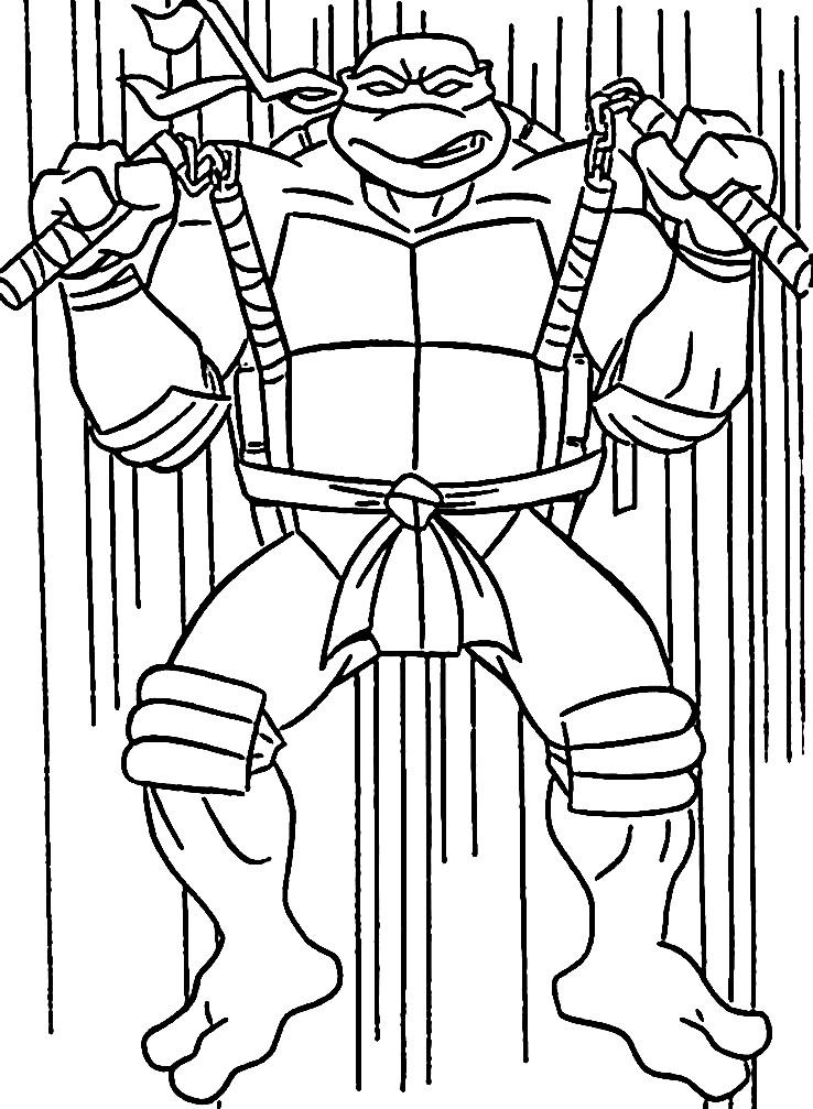 Раскраска боец ниндзя Микки