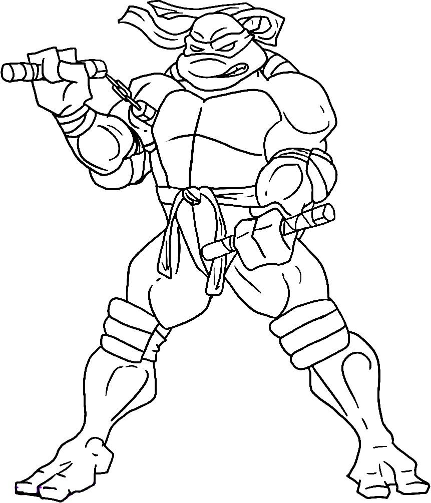 Раскраска Микеланджело с оружием