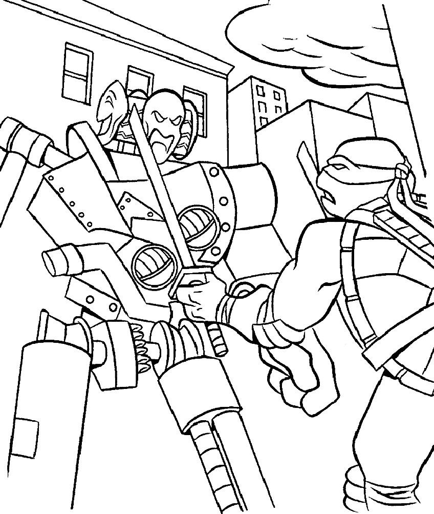 Раскраска ниндзя черепашки бой с роботом