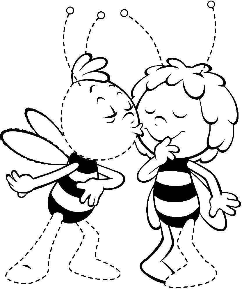Раскраска пчела Майя и Вилли