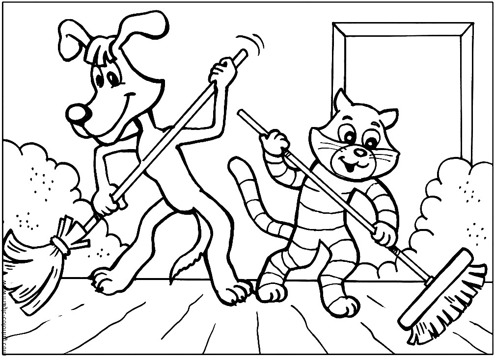 Раскраска пес Шарик и кот Матроскин