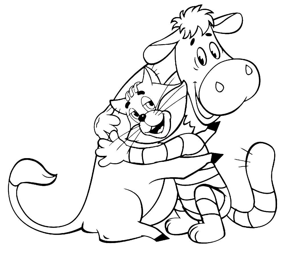 Раскраска кот Матроскин с любимой коровой Муркой