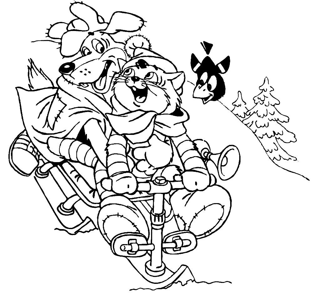 Раскраска кот Матроскин и пес Шарик
