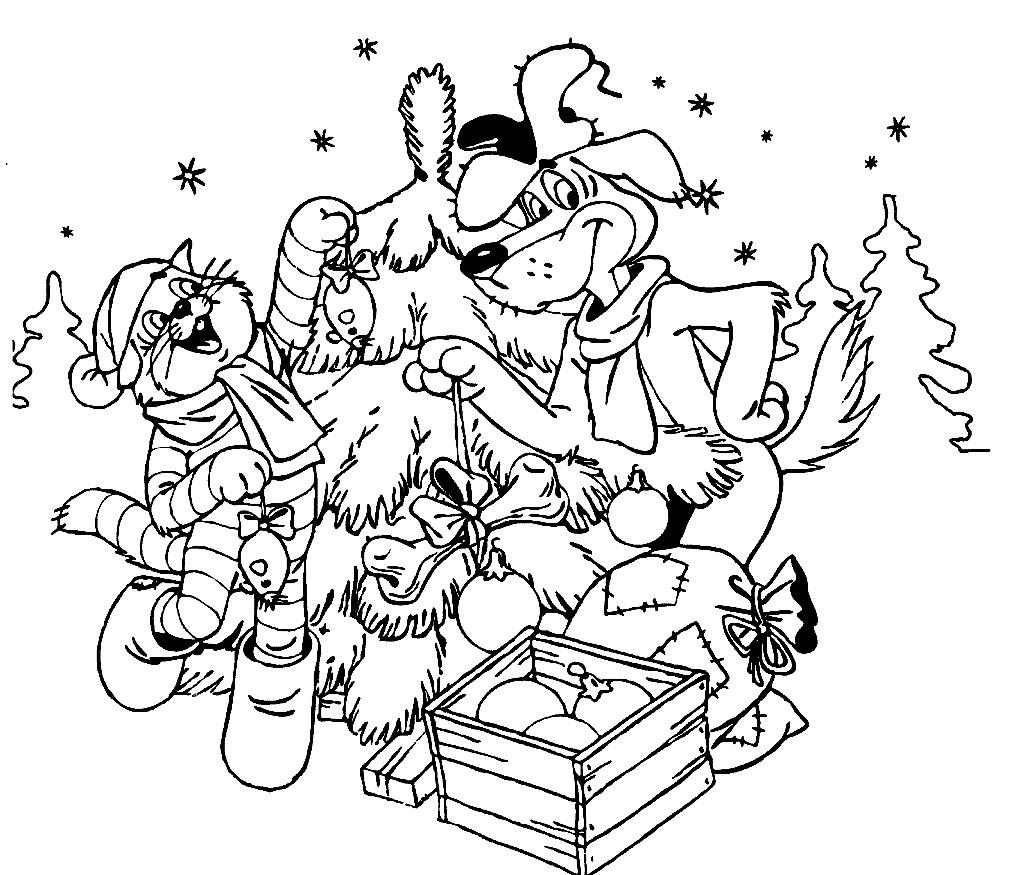 Раскраска Новый год в Простоквашино