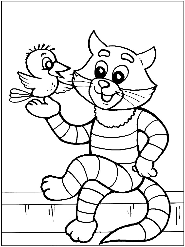 Раскраска кот Матроскин с галчонком