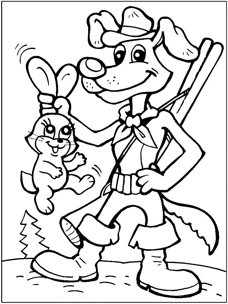 Раскраска пес Шарик поймал зайца