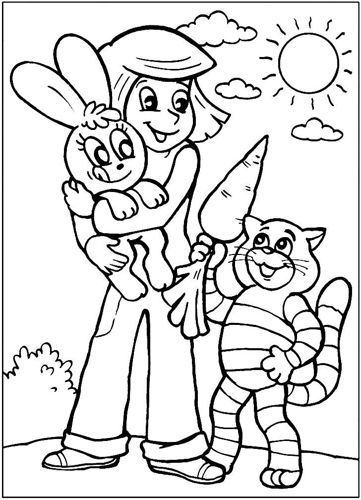 Раскраска Дядя Федор с зайцем