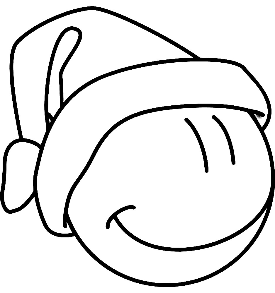 Раскраска смайлик в шапочке Санты