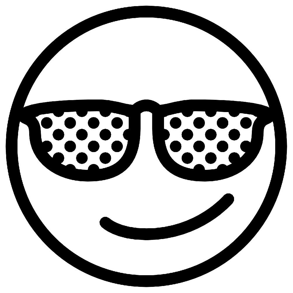раскраска смайлик темные очки раскраски для детей