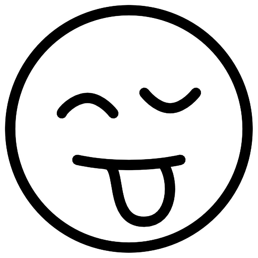 Раскраска смайлик язык с подмигиванием