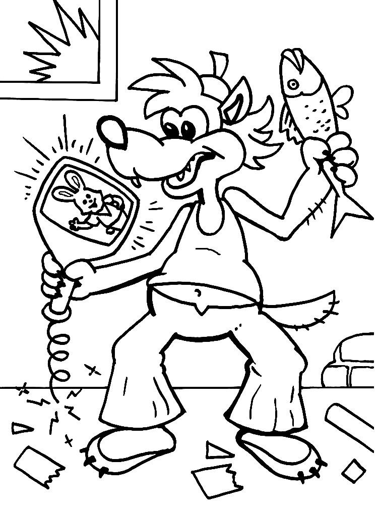 Раскраска Волк увидел по телевизору Зайца