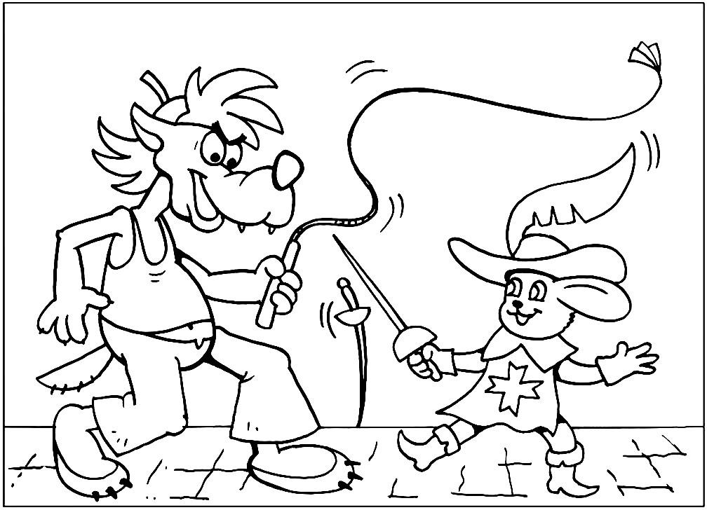 Раскраска Волк и Заяц мушкетер