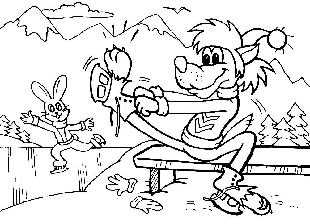 Раскраска Заяц и Волк на катке