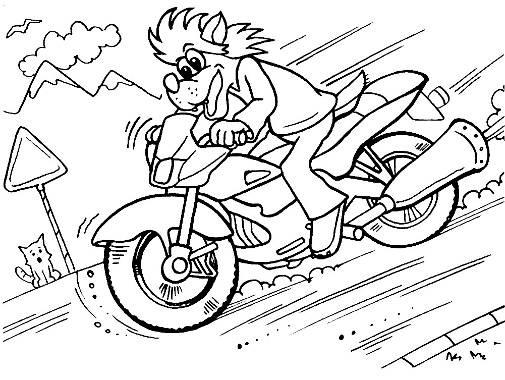 Раскраска Волк на мотоцикле