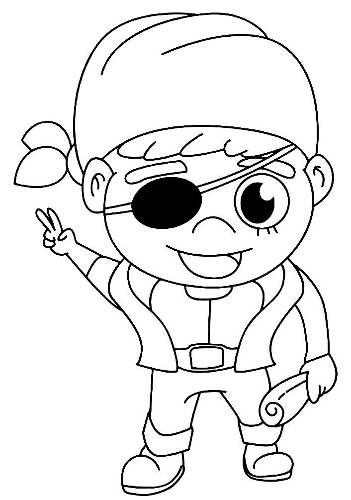 Раскраска мальчик пират