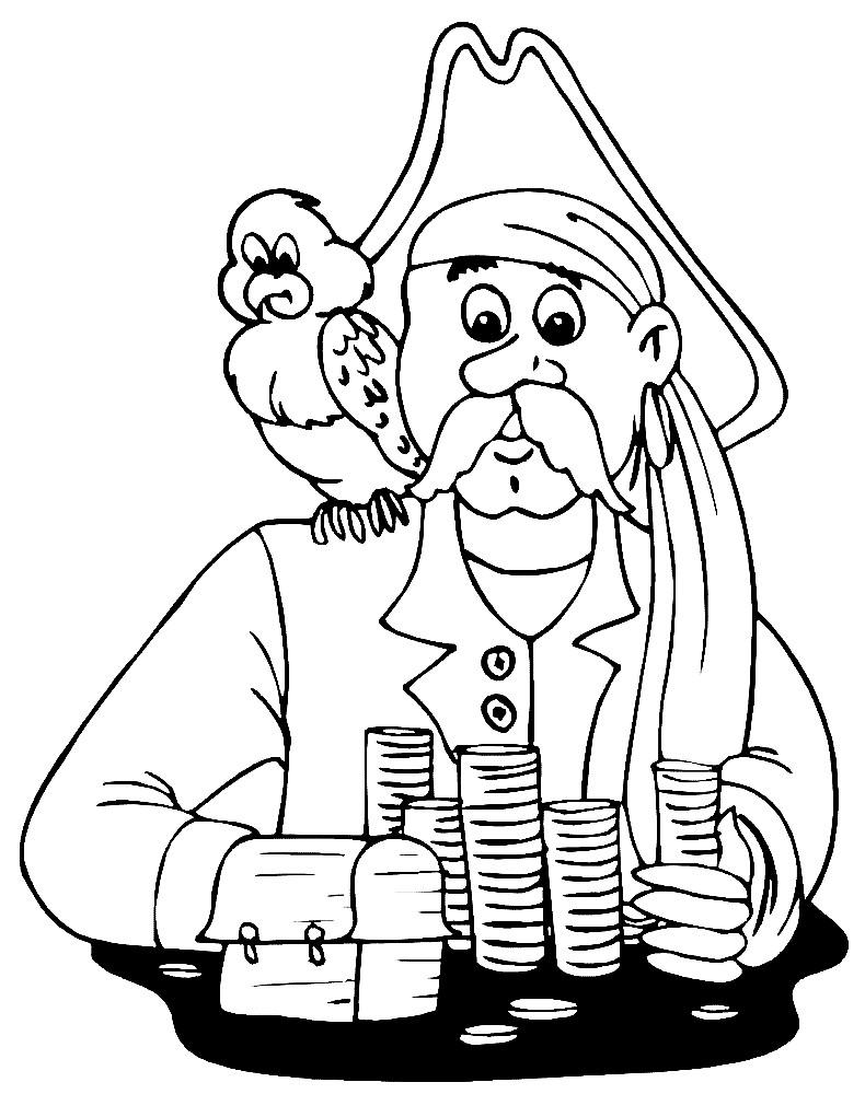 Раскраска пират с пиастрами