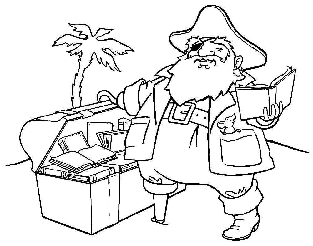 Раскраска пиратский сундук