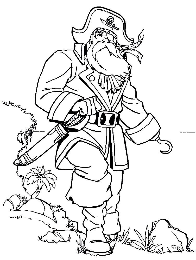 Раскраска пират с железной рукой в виде крюка.