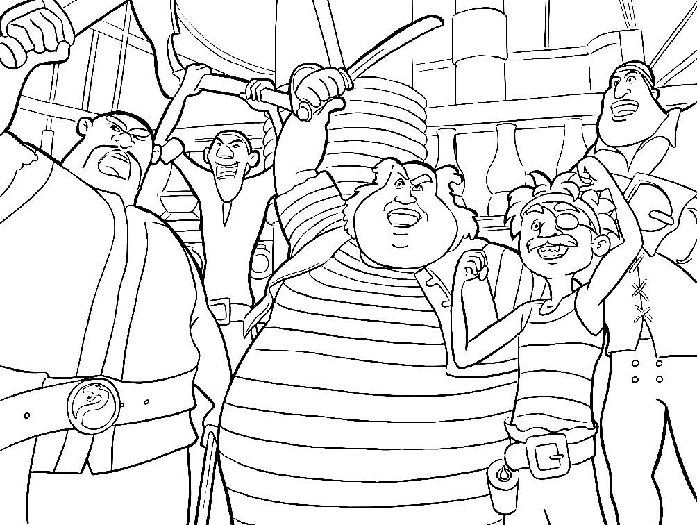 Раскраска команда пиратов из мультфильма