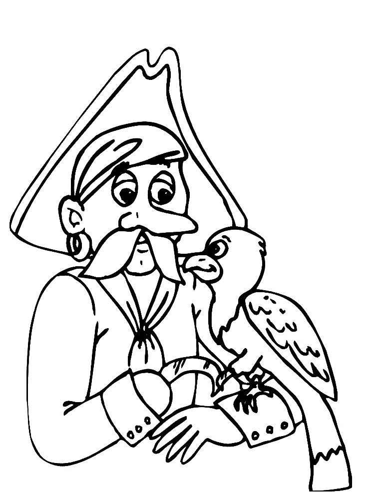 Раскраска пират с попугаем