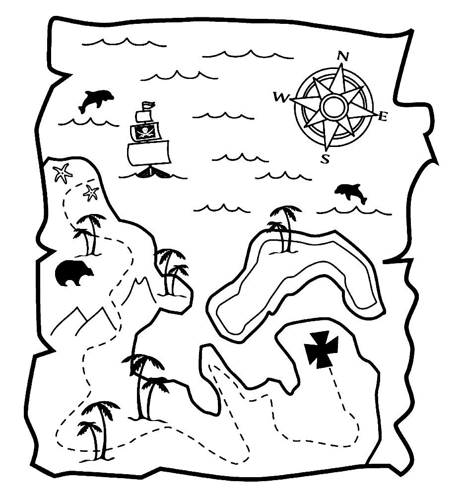 Раскраска пиратская карта сокровищ