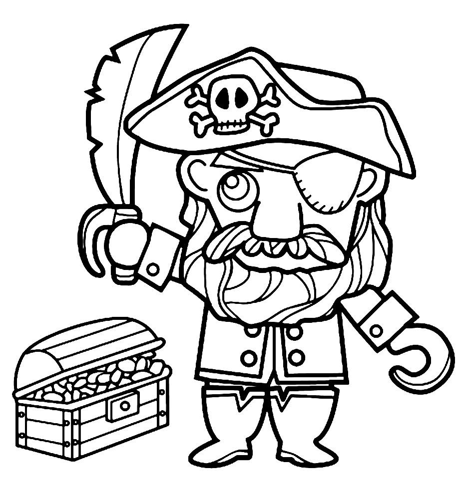 Раскраска пират из мультика