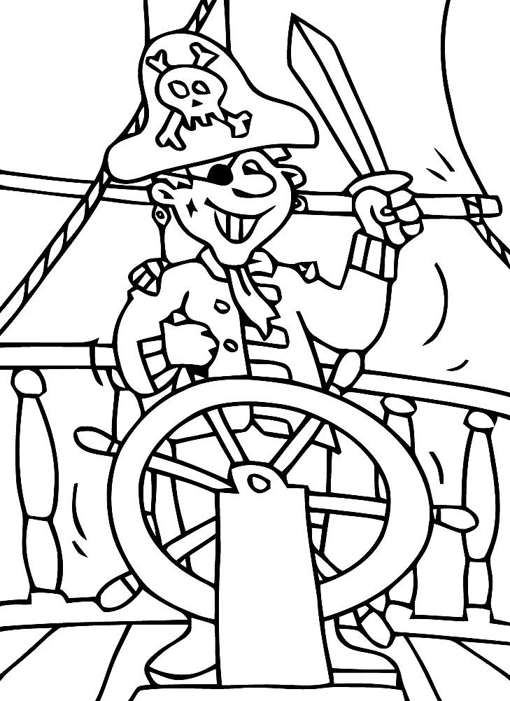 Раскраска пират на пиратском корабле