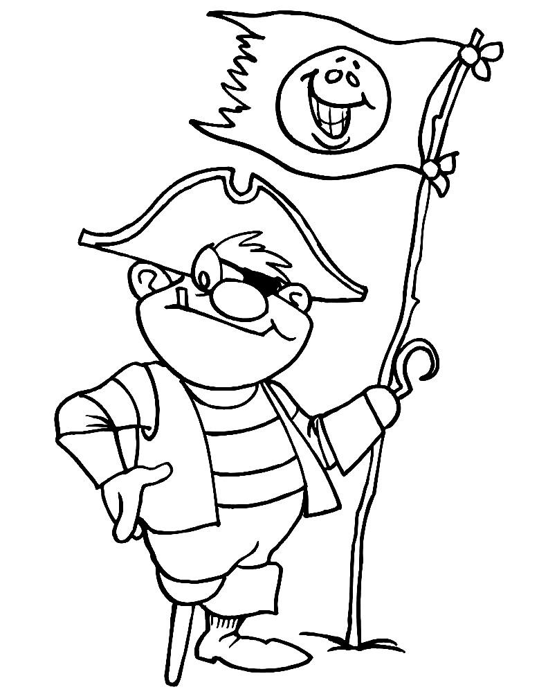 Раскраска одноногий пират