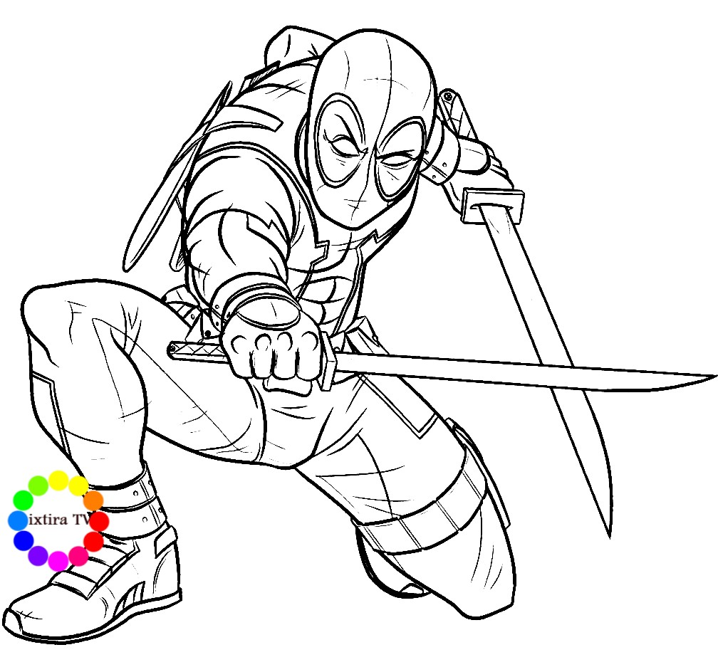 Раскраска Дэдпул с мечами