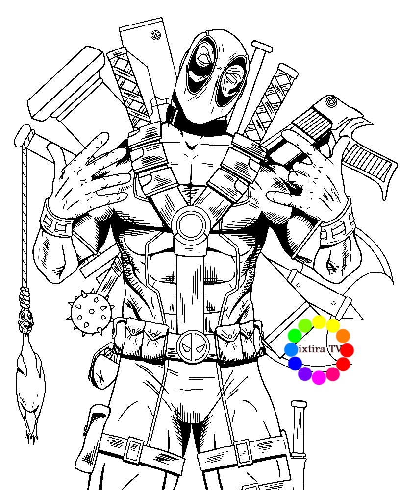 Раскраска Дэдпул с оружием