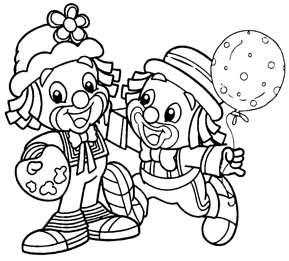 Раскраска клоуны на детском празднике