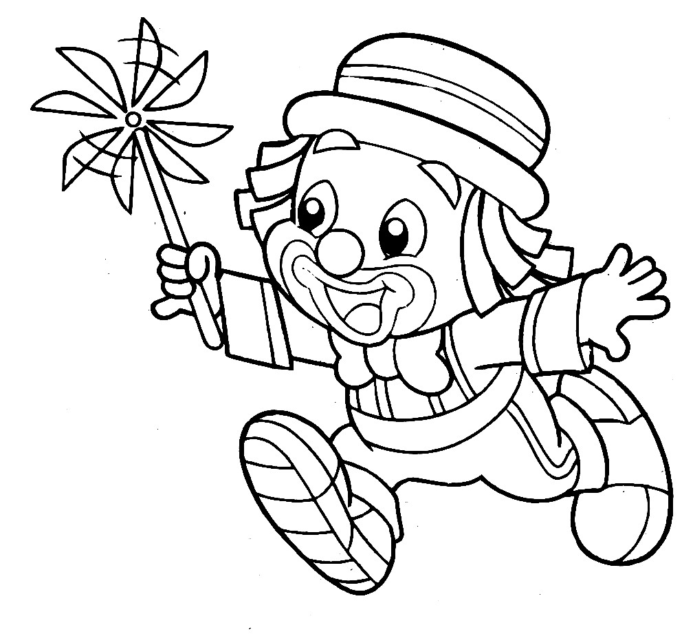 Раскраска клоун с игрушкой