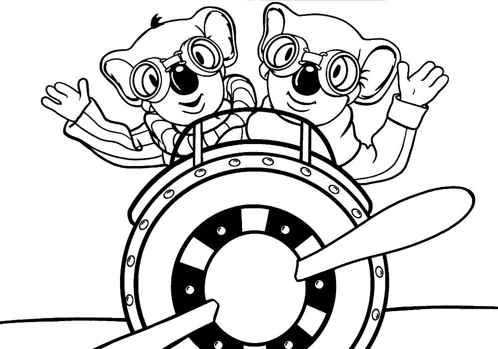 Раскраска коалы в самолете