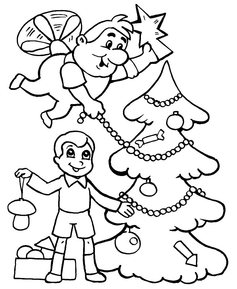 Раскраска Малыш и Карлсон украшают елку