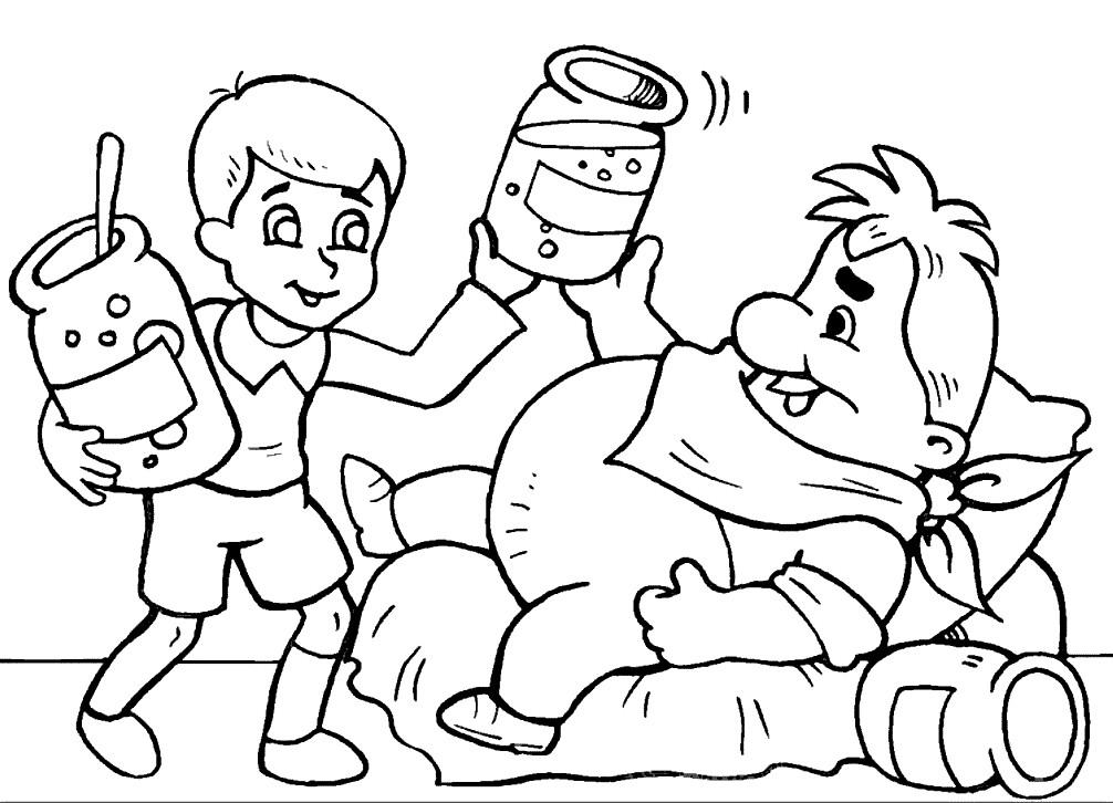 Раскраска Карлсон ест варенье