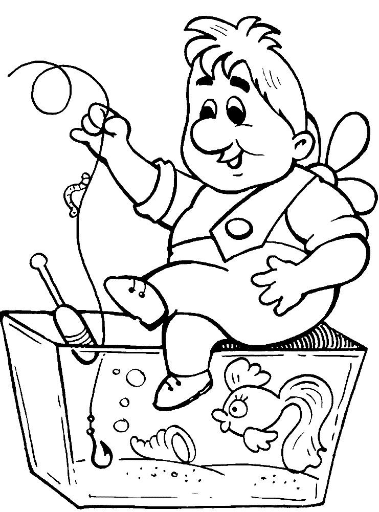 Раскраска Карлсон ловит рыбу в аквариуме | Раскраски для ...