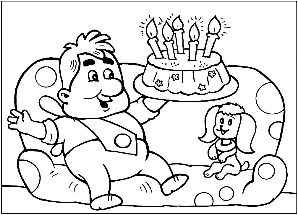 Раскраска Карлсон на День Рождении Малыша