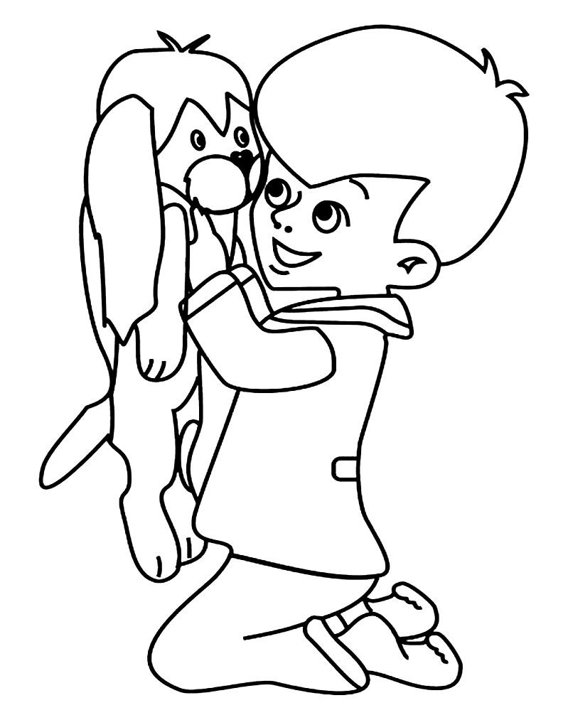 Раскраска Малыш с щенком Бимбо