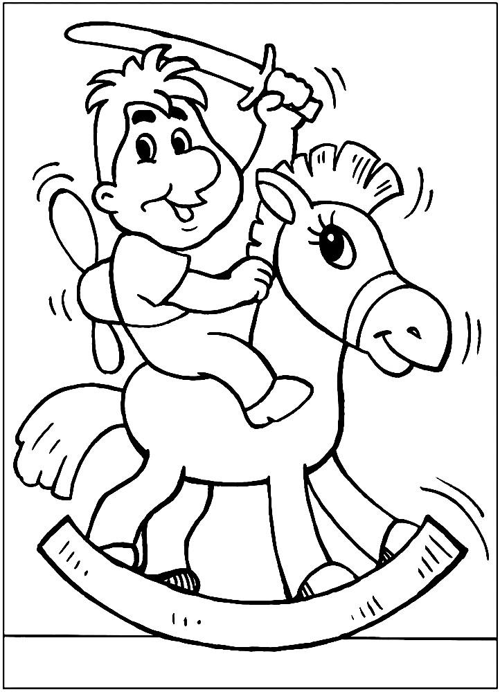 Раскраска Карлсон на игрушечном коне