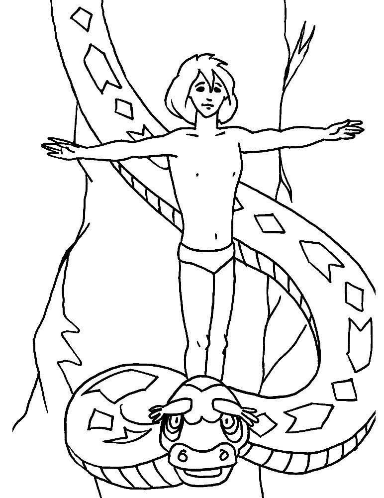 Раскраска Маугли и питон Каа