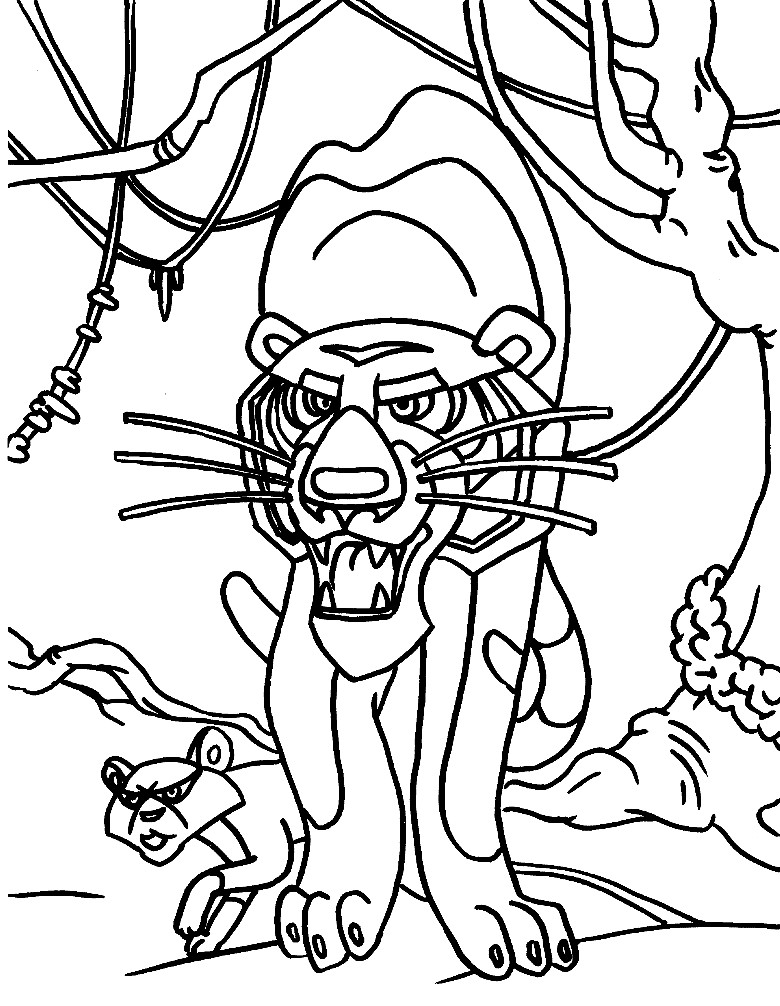 Раскраска тигр Шерхан и его прихвостень Табаки